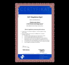 Certyfikat M Figiel Fizjoterapia dzieci z chorobami neurologicznymi